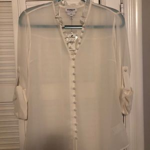 NWT - White Express Work Button up Blouse